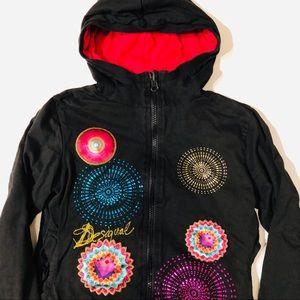 Desigual 9-10 reversible hooded zip sweatshirt